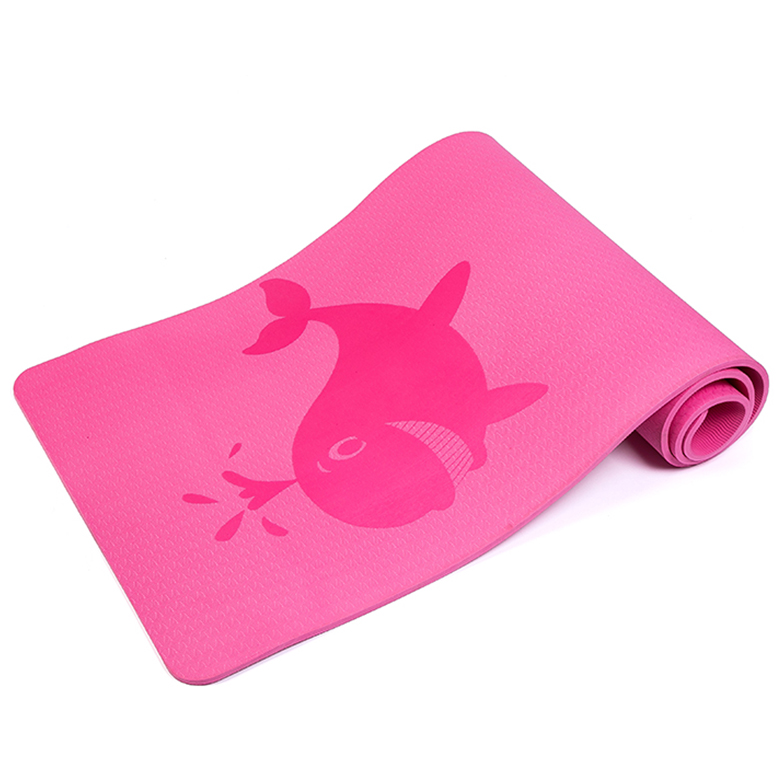 Latest custom high quality wholesale pink cartoon pattern yoga mat with logo printing