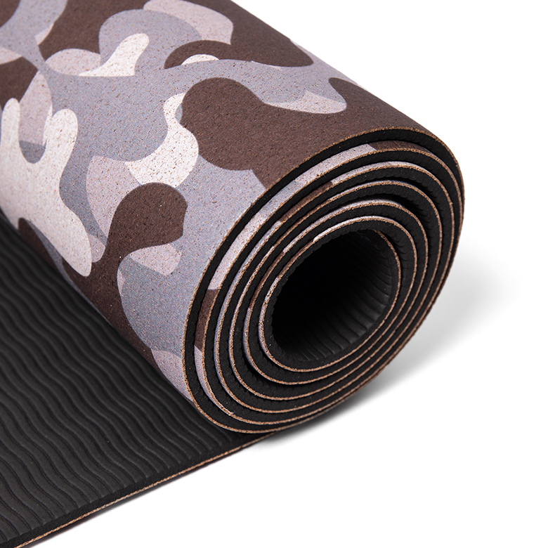 Custom logo wholesale tpe private label two layer natural anti-slip eco-friendly tpe  camouflage yoga set mat and blocks